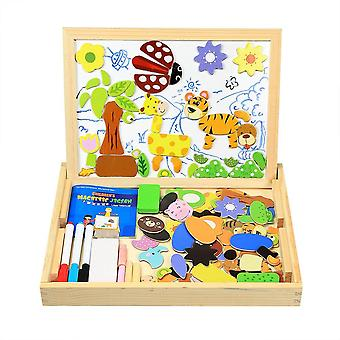 Innoobaby magnetic jigsaw puzzles 100 pieces educational wooden toy for kids 3 4 5 years old double