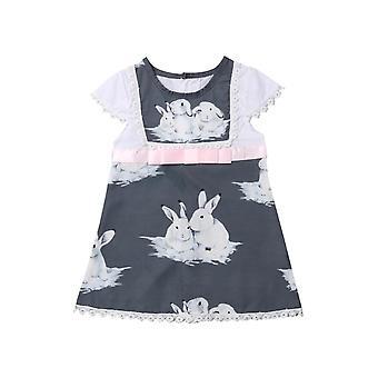 Söpö lyhythihainen vauva tytöt mekko -kanit