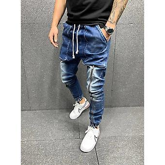 عارضة القطن الدنيم السراويل متعددة جيب البضائع الجينز الرجال السراويل أزياء