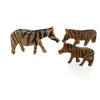 Wooden Zebra Figurine Family - 3 Piece Set