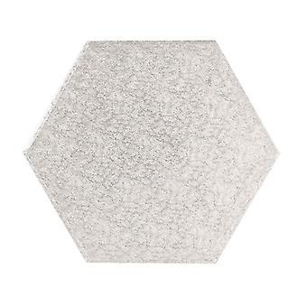 """13"""" (330mm) Cake Board Hexagonal Silver Fern - singolo"""
