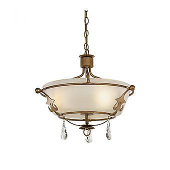 Lámpara Colgante Windsor / Semi-techo, Pátina Dorada, Cristal, 3 Luces
