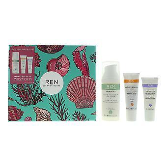 Ren Clean Skincare Gift Set - Day Cream 50ml, Face Mask 15ml, Serum 10ml