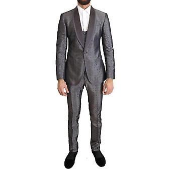 Dolce & Gabbana Silver Silk Baroque Single Breasted Suit