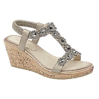 Cipriata Emilia señoras sandalias de cuña pewter
