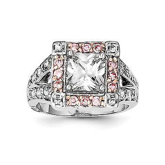 925 Sterling Silver Polerad Öppen rygg Rosa 14k Guldpläterad CZ Cubic Zirconia Simulerad Diamantring Storlek 7 Smycken Gåva