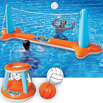 Inflatable Pool Float Set Volleyball Net And Basketball Hoops, Swimming Game Toy
