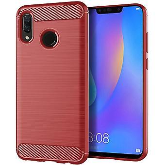Tpu carbon fibre case for huawei nova 3i red mfkj-530