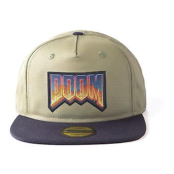 Doom - Original Retro Logo Unisex Snapback Baseball Cap - Light Green/Black