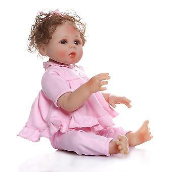 48Cm premie baba mérete reális újjászületett bebe teljes test puha szilikon cuddly baba anatómiailag helyes fürdő játék rózsaszín ruhában