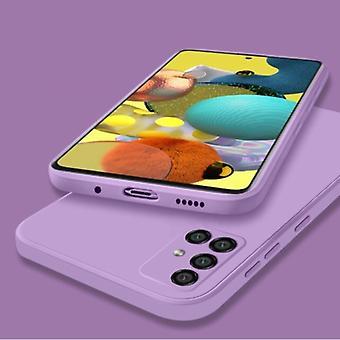 My choice Samsung Galaxy A21s Square Silicone Case - Soft Matte Case Liquid Cover Purple