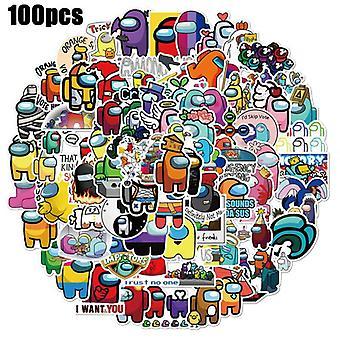 100 stuks cartoon spel onder ons waterdichte vinyl stickers voor laptop waterfles