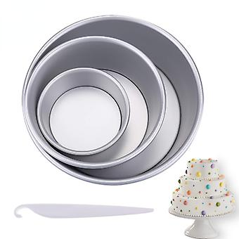 4/6/8 Inch round cake pan set with removable bottom aluminum alloy chiffon cake mold/mould set 3 tier round cakes tins