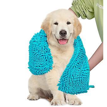 2X الكلب منشفة فائقة الامتصاص الشامي السوبر مع جيوب اليد، سريعة الجافة الناعمة الألياف الدقيقة chenille المواد مناشف حمام الحيوانات الأليفة، الفيروز