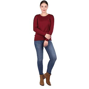 Claret Red Crew Neck Thin Knitwear Suéter de mujer