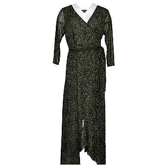 G By Giuliana Dress Stretch Tulip Hem Mesh Crossover V Neck Green 732173