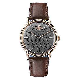 Vivienne Westwood Vv212rsbr Turnmill Rose guld urtavla och brun läderrem Watch