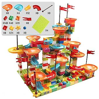 Age 7+ building blocks marble race run city building block toys for children and racing(308)(Multi)