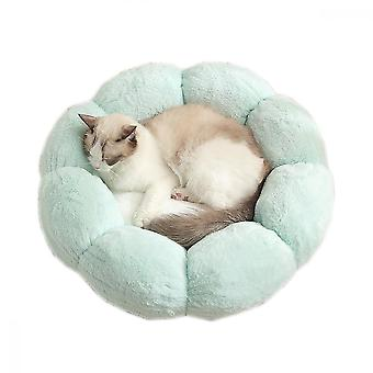 Pet Cats And Dogs Warm Winter Flowers Small Plush Nest (light Green + White)