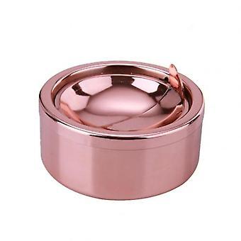 hjem rustfritt stål vindtett rund form røykfri askebeger rotasjon med lokk