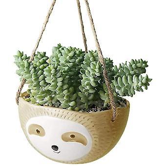 Luie Bloem Bonsai Plant Potten, Leuke Dierlijke Plant Plantenbakken Succulente Planten Potten Hanging Basket Ronde Bloem Pot Geel
