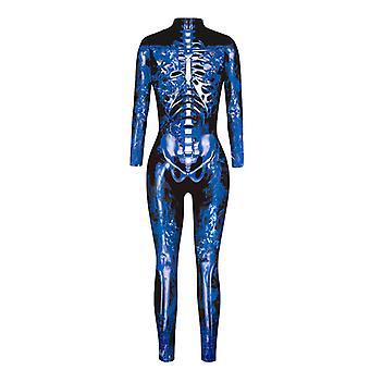 Halloween Naiset 3D Skeleton Jumpsuit Cosplay Puku Juhla Naamiaispuku