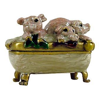 Three Piglet Pigs in Bath Tub Jewelled Trinket Box