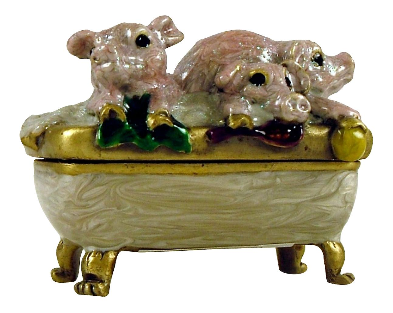 Three Piglet Pigs in Bath Tub Jewelled Trinket Box
