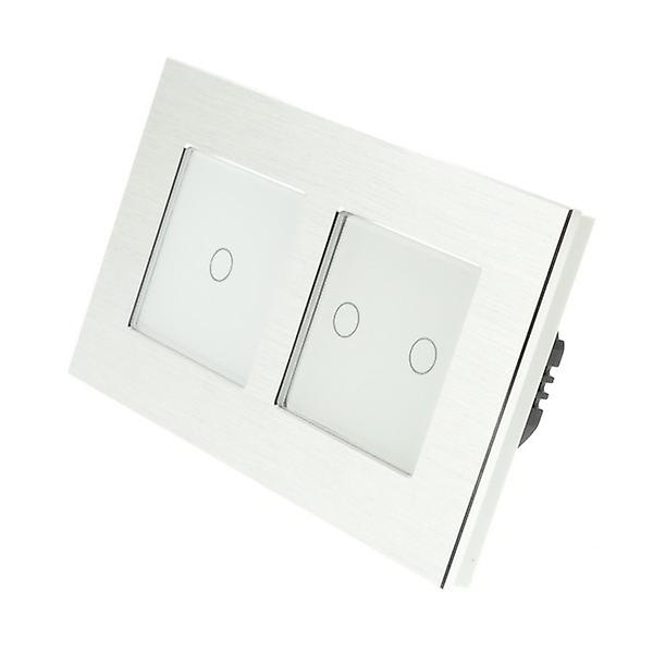I LumoS Silver Brushed Aluminium Double Frame 3 Gang 1 Way WIFI/4G Remote Touch LED Light Switch White Insert
