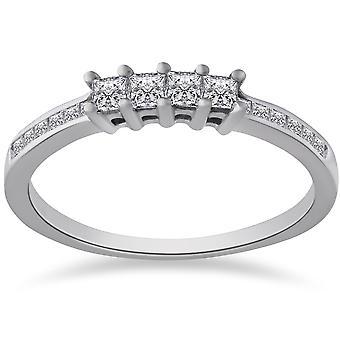 3 / 8ct Princess Cut Diamond trouwring 14K witgoud