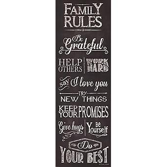 Familie regler plakat Print af Susan Ball (12 x 36)