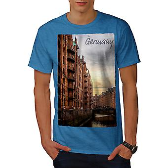 Germany Street Canal City Men Royal BlueT-shirt | Wellcoda