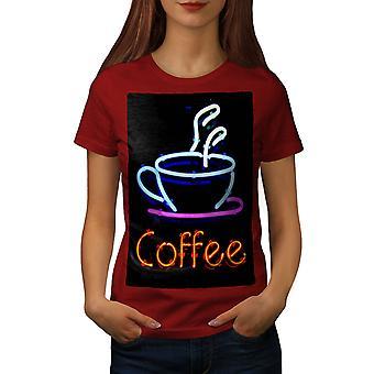 Coffee Neon Photo Food Women RedT-shirt | Wellcoda