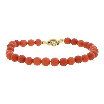 Rote Koralle Armband mit Goldschloss