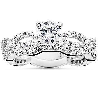 1ct pavé de diamants naturels Engagement infini Wedding Ring Set 14K or blanc
