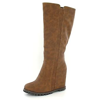 Ladies Spot On High Covered Platform Boot with Gusset Fit