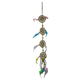 Boho fjær tre Beaded 4 lags Jute tau Dream Catcher