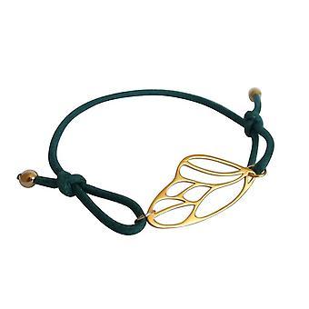 Gemshine Damen Armband KNOTS Schmetterling Flügel Silber Vergoldet Grün