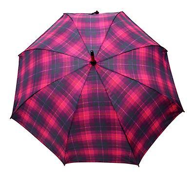 Tweed Check Print Cerise Straight Umbrella