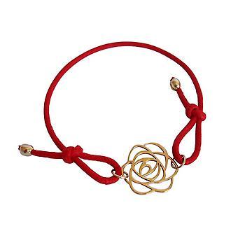 Flor de algodão vermelho String pulseira Art Deco dourado bronze