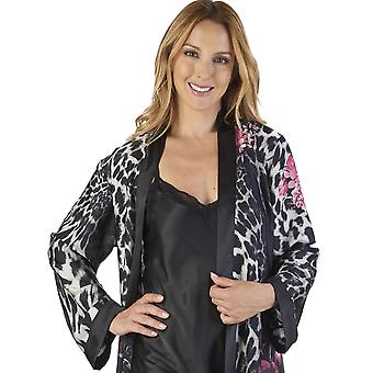 Slenderella GL2786 femei ' s animal satin floral kimono și nightdress set
