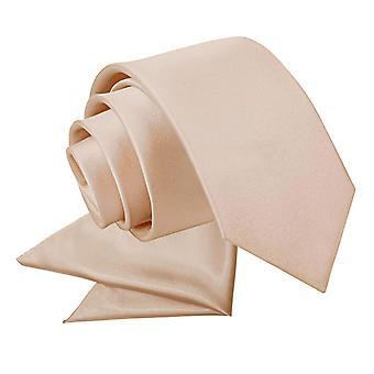 Planície de marrom Mocha cetim gravata e lenço de bolso conjunto para meninos