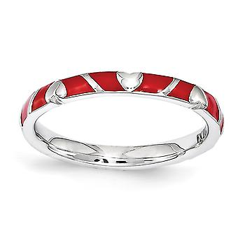 2.5mm 925 Sterling Silver Polished Rhodium-plated Stackable Expressions Red Enamel Heart Ring - Ring Size: 5 to 10