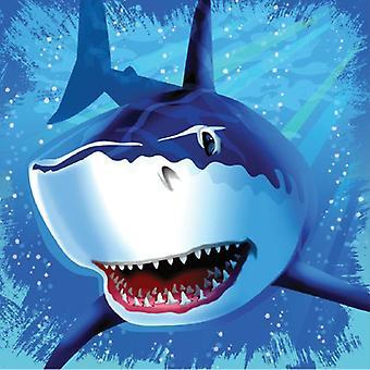 Rechin Shark Party șervețele 33x33cm 16 bucata Shark Shark Party copii ziua de nastere decorare