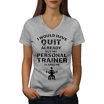 Trainer Gym Women GreyV-Neck T-shirt | Wellcoda