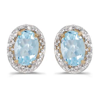 LXR 14k Gelbgold Oval Aquamarin und Diamant Ohrringe 0.58 ct