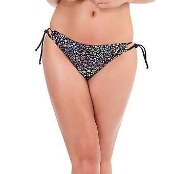Womens Mio simma metalliska orm skriva ut och svart Trim Ladies Bikini korthet