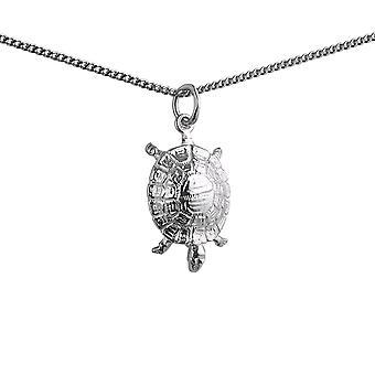 19x12mm Schildkröte Anhänger mit einem 1,3 mm breite Kandare Kette 18 Zoll Silber