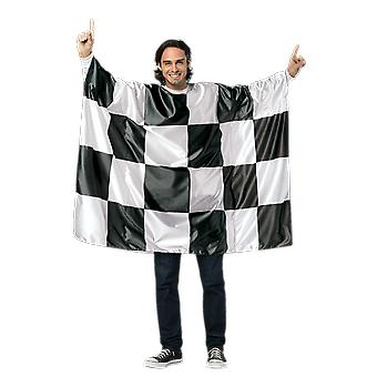 Mens Checkered Flag Costume F1 Sport Novelty Funny Fancy Dress