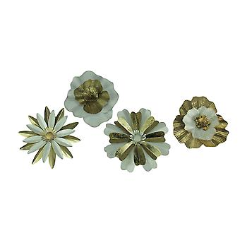 White and Gold Metal Flower Wall Sculptures Set of 4